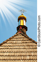 Wooden roof of aged church.