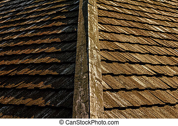 Wooden roof tile of old house