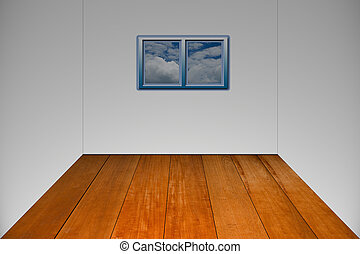 wooden room with a window