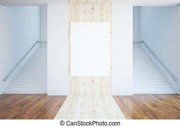 Wooden room with blank poster