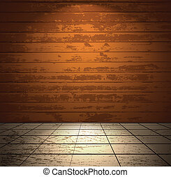 Wooden room with light floor