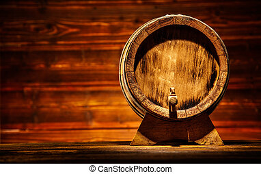 Wooden round barrel with old planks on background, copyspace...