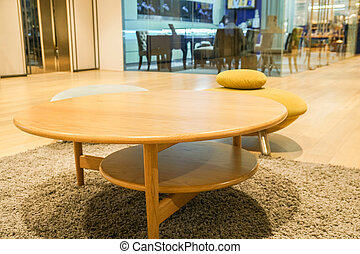 wooden round console table in living room