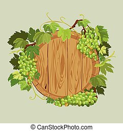 Wooden round frame with green grapes and leaves isolated on beige background. Element for restaurant, bar, cafe menu or label.