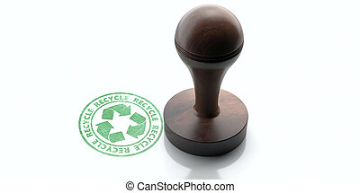 Wooden round rubber stamper and stamp with text RECYCLE isolated on white background. 3d illustration