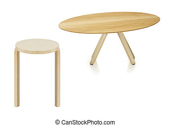 wooden round table and stool