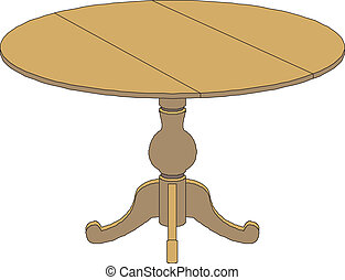 table clipart. wooden round table isolated on white clipart