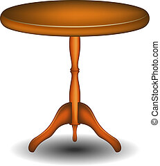 Wooden round table - Round table in wooden design on white...