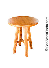 wooden round table isolated on white background, with clipping path