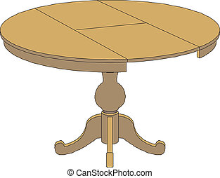 wooden round table isolated on whit