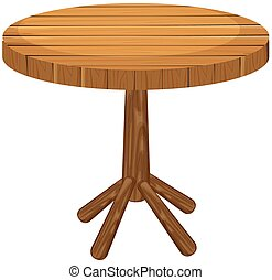 Wooden round table on white background