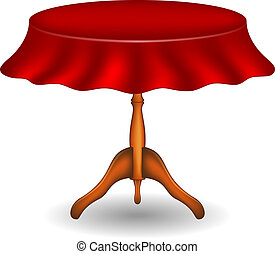 Wooden round table with tablecloth on white background