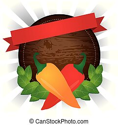 wooden rounded pepper label vector design - wooden rounded ...