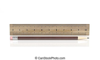 Wooden ruler and pencil, isolated on white background