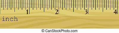 wooden ruler in inches