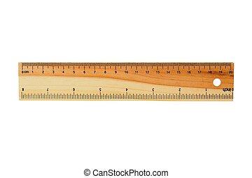 Wooden ruler on white