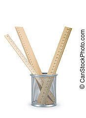 Wooden rulers isolated on the white background