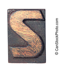 wooden S typeface - detailed vintage wooden S letter ...