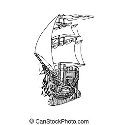 wooden sailboat made of boards with masts, anchors & sails, ...