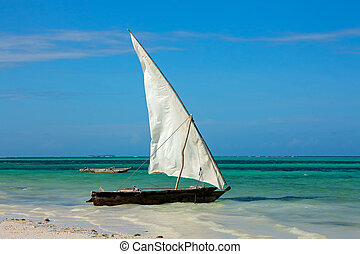 Wooden sailboat on the beach
