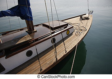 wooden sailboat - prow detail