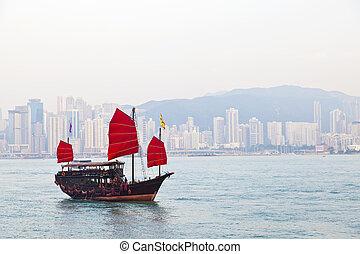 Wooden sailboat sailing in Hong Kong