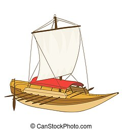 wooden sailing boat drawing on white. vector illustration