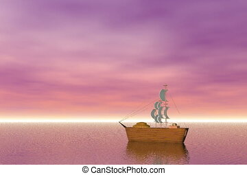 Wooden sailing ship sailing on the ocean