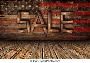 Wooden Sale on Wood Wall with American Flag Overlay....