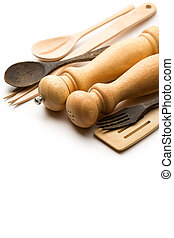 Wooden salt and pepper set with kitchen utensils