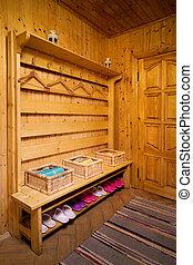 wooden sauna - checkroom in a wooden and beautiful sauna