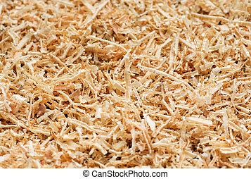 Wooden sawdust texture close up. Abstract background.