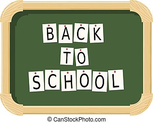 Wooden school chalkboard with sheets and letters on a white background. Back to school.