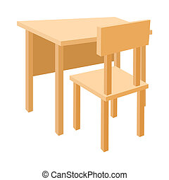Wooden school desk and chair icon, cartoon style