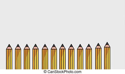 creativity learning design animation - wooden school pencil...