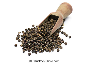 peppercorn - wooden scoop with black peppercorn on white...