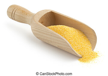 wooden scoop with cornmeal on white background