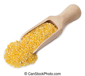 wooden scoop with maize grits on white background