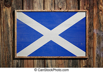 Wooden Scotland flag