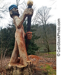Wooden sculpture in the park