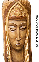 sculpture - wooden sculpture over white background