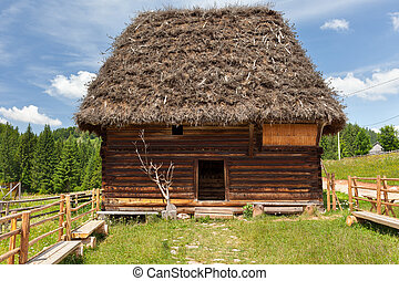 Wooden shack - Traditional Romanian wooden hut near the...