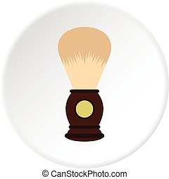 Wooden shaving brush icon circle