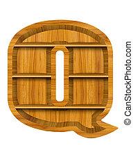 Wooden shelf alphabet letter Q - Wooden alphabet letter with...