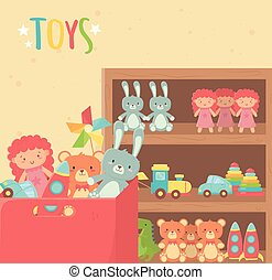 wooden shelf and cardboard box with various toys