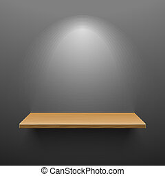 Wooden shelf on dark wall illustration