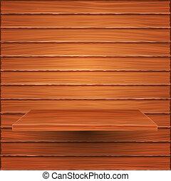 Wooden shelf on wooden wall