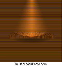 wooden shelf on wooden wall. Vector illustration