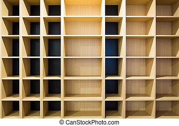 Wooden shelf with empty box