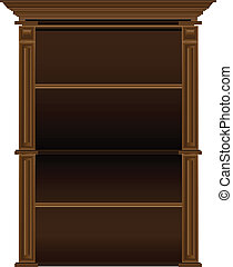 Old antique wooden shelves for dishes and books. Vector illustration.